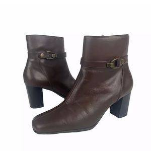 Nine & Co Brown Leather Ankle Boots Heeled Size 8